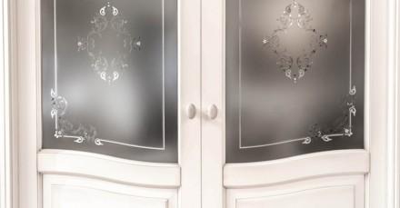 Porta interna due ante con vetro satinato